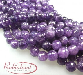 Amethyst Kugelstrang facettiert 14 mm / 40 cm