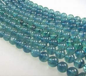 blauer Fluorit Kugelstrang ca. 12 mm / ca. 40 cm