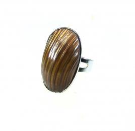 Muschel Fingerring braun freie Größe ca. 17 - 20 mm
