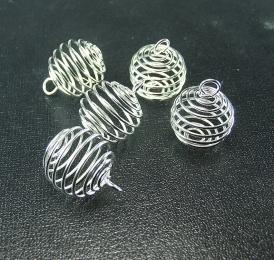 10er Set Stahlspirale klein versilbert für Trommelsteine ca. 20 mm
