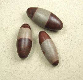 3er Set Shiva Lingam aus Indien ca. 35 bis 60 mm