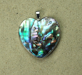 3er Set Abalone Herz Anhänger groß gefasst ca. 50 x 42 mm