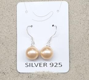 3 Paar Ohrhänger Muschekern aprikot ca. 10 mm an 925 Silber
