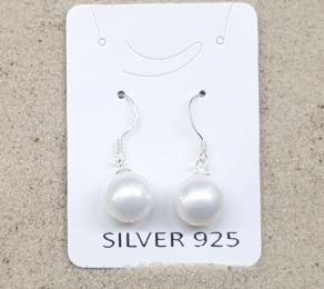 3 Paar Ohrhänger Muschekern weiss ca. 10 mm an 925 Silber