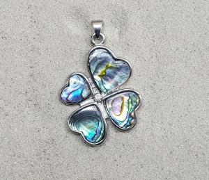 3er Set Abalone Anhänger Glücksklee in Herzform an Öse ca. 44 x 29 mm
