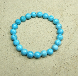 Magnesit blau (beh.) Kugelarmband ca. 10 mm / ca. 19 cm