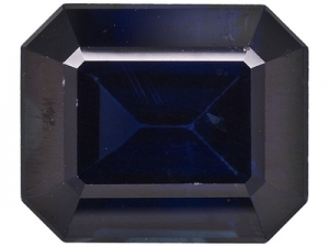 Mitternachtsblauer Saphir Baguette-Schliff facettiert  ca. 6 x 8 mm