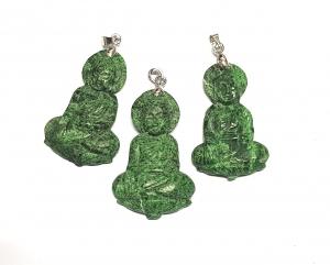 Chloromelanit - Jade Anhänger Buddha an Öse - ca. 50 x 25 mm