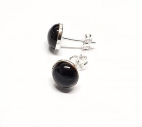 schwarzer Achat Ohrstecker Halbkugel ca. 8,5 mm in 925 Silber