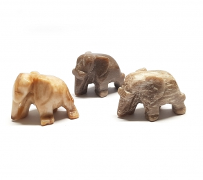3er Set mini Elefant aus versteinertem Holz ca. 27 x 20 mm