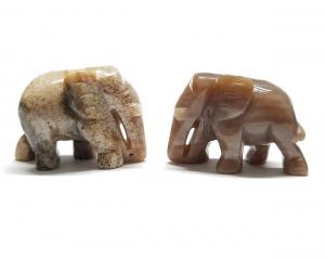 3er Set Elefant aus versteinertem Holz Größe M ca. 35 x 25 mm