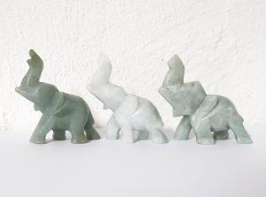 3er Set Glücks - Elefant aus Jade ( Jadeit ) mit hochstehendem Rüssel ca. 39 x 42 mm