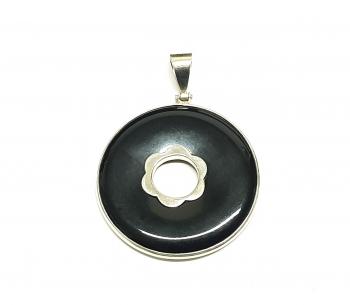 OnyxDonut - Anhänger verziert an 925 Silber ca. 50 x 40 mm