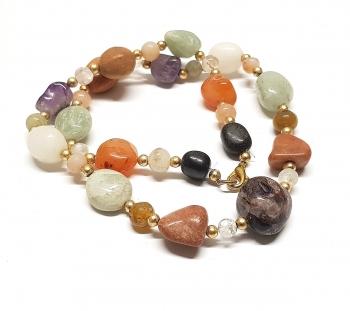 Multicolor Bettlerkette aus versch. Achaten / Steinsorten ca. 7 - 10 mm / 45 cm