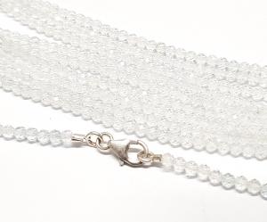 weißer Topas Kugelkette facettiert ca. 2 mm / ca. 45 cm mit Silberkarabiner