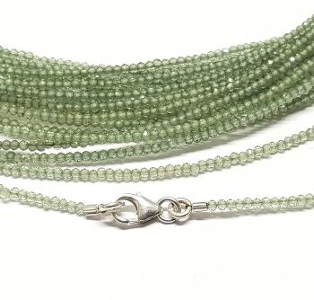 Apatit grün Kugelkettefacettiert ca. 2 mm/ ca. 45 cm mit Silberkarabiner