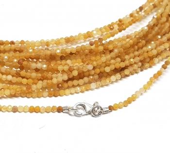 gelbe Jade Kugelkettefacettiert ca. 2 mm/ ca. 45 cm mit Silberkarabiner