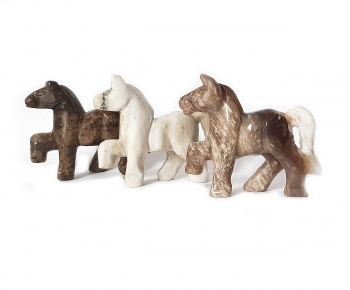 Pferde Gravur aus versteinertem Holz ca. 50 x 42 mm
