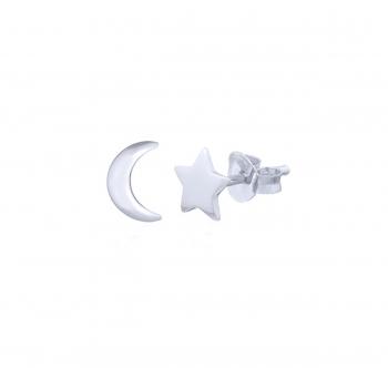 3 Paar Mond & Sterne Ohrstecker aus 925 Silber ca.5 x 7 mm