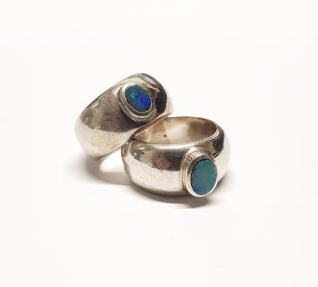 Opal DoublettenFingerringin 925 Silber