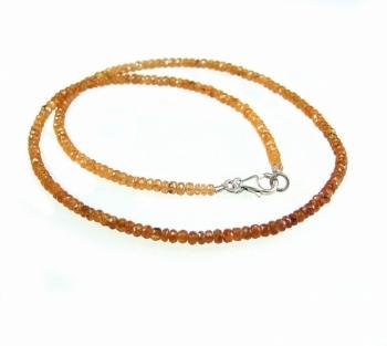 Mandaringranat Halskette facettiert ca.3-4 mm / 925 Silberkarabiner