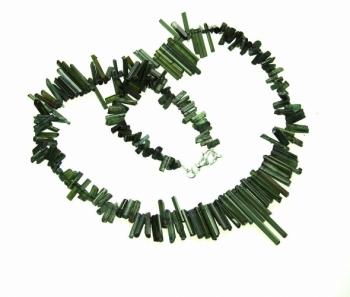grüner Turmalin Kristallkette ca. 5-27 mm / ca. 45 cm mit 925 Silberkarabiner - Sonderposten