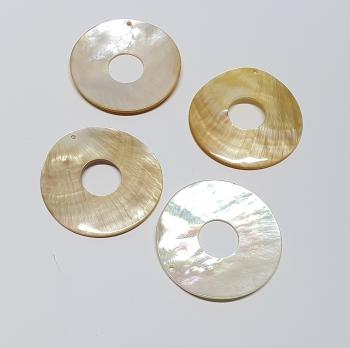 5er Set 50 mm Perlmutt Donut Anhänger 16 mm Loch und Bohrung - Einzelset
