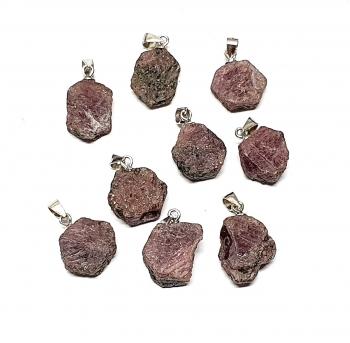 Rubin Anhänger Kristall an 925 Silber Stiftöse ca. 16-21 mm