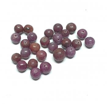 26 Rubin Kugeln gebohrt ca. 6-8 mm / 1 mm Bohrung - Einzelstücke