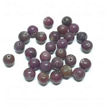28 Rubin Kugeln gebohrt ca. 6-7 mm / 1 mm Bohrung - Einzelset