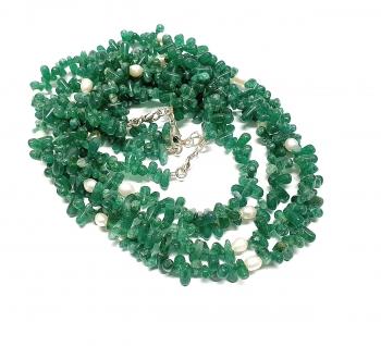 Aventurin grün Halskette Pampel mit Zuchtperle ca. 5-7mm / ca. 45cm mit Silberkarabiner - Sonderposten