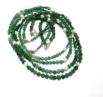 Aventurin grün Halskette Dreieck gerundet mit Zuchtperle ca. 4-7 mm / ca. 45 cm mit Silberkarabiner - Sonderposten