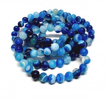 Streifenachat blau (farblich behandelt) Kugelarmband ca. 8 mm /  ca. 19 cm