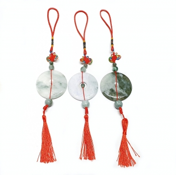 Feng Shui Glücksbringer mit großer Jade Glücksmünze ca. 55 mm / ca. 30 cm