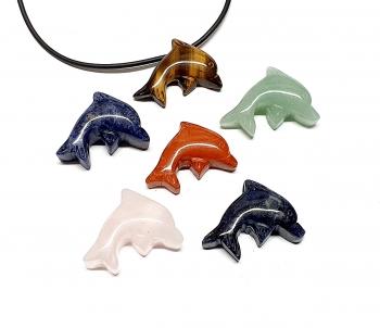 5er Set Delphin Anhänger aus verschiedenen Steinsorten ca. 25 x 30 mm