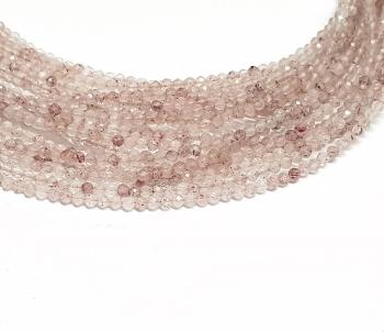 Erdbeerquarz Kugelstrang facettiert ca. 2 mm/ ca. 42 cm