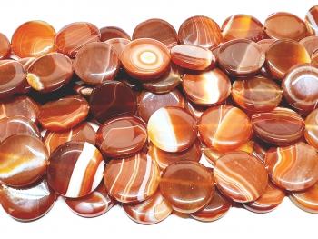 Streifenachat rot Scheibenstrang flach ca. 25 x 5,5 mm / ca. 33 cm