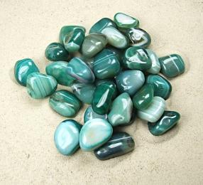 grüner Streifenachat (behandelt) Trommelsteine aus Brasilien VE = 500 gr.