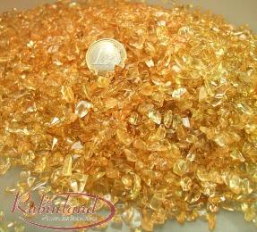 Citrin Trommelstein - Chips (farbbehandelt) - 1000 gr. / 4 - 10 mm