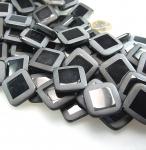 Onyx teilpolierter Quadratstrang diagonal ca. 25 mm / 40 cm