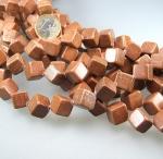 versteinertes Holz Würfelstrang diagonal ca. 12 mm / 40 cm
