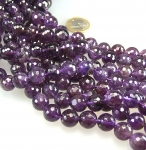 Amethyst Kugelstrang facettiert ca. 12 mm / 40 cm