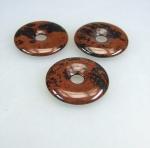 3er Set Mahagoni - Obsidian Donut Anhänger 30 mm