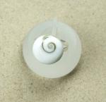 Operculum Fingerring rund 16mm - freie Größe in 925 Silber