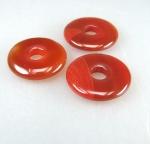 3er Set roter Carneol Donut Anhänger 30 mm