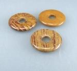 3er Set Aragonit Calcit Donut Anhänger braun in 30 mm