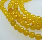 Achat gelb Kugelstrang behandelt ca. 10 mm / ca. 40 cm
