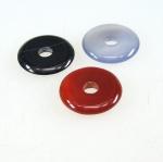 3er Set 25 mm verschiedene Achat Donut Anhänger