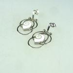 Schaumkoralle Ohrhänger Olive an 925 Silber ca. 37x14 mm