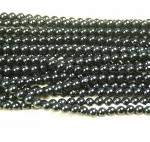 schwarzer Turmalin / Schörl Kugelstrang ca. 6 mm / ca. 40 cm